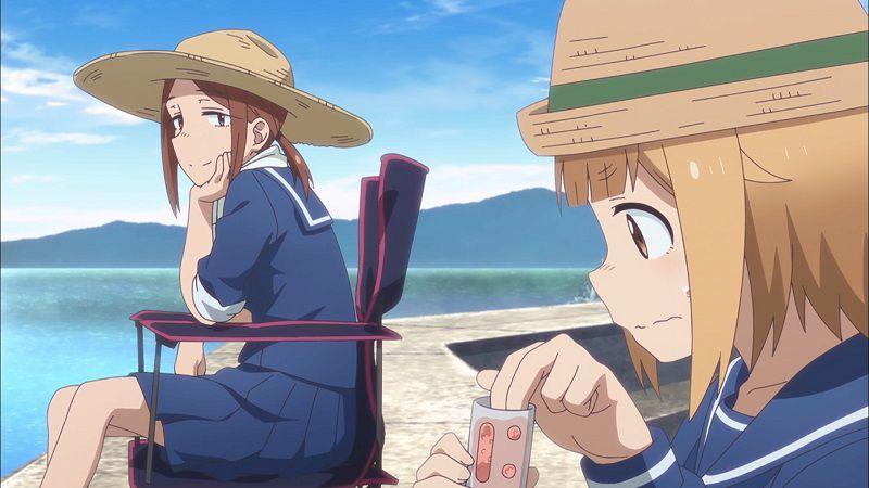 """Кадр из аниме """"Рыбалка для школьниц после занятий"""""""